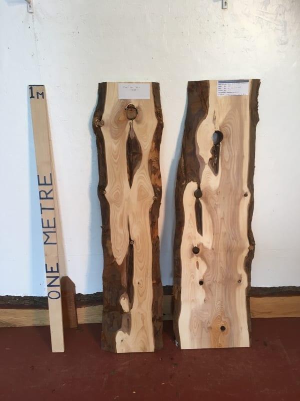 YEW BUNDLE 1426B-1 Natural Waney Live Edge Slab Wood Board thickness 2.5cm Kiln Dried Planed Seasoned Hardwood