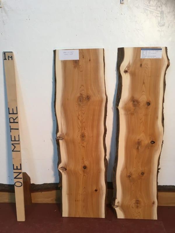 YEW BUNDLE 1426C-4A/B Natural Waney Live Edge Slab Wood Board thickness 2.5cm Kiln Dried Planed Seasoned Hardwood