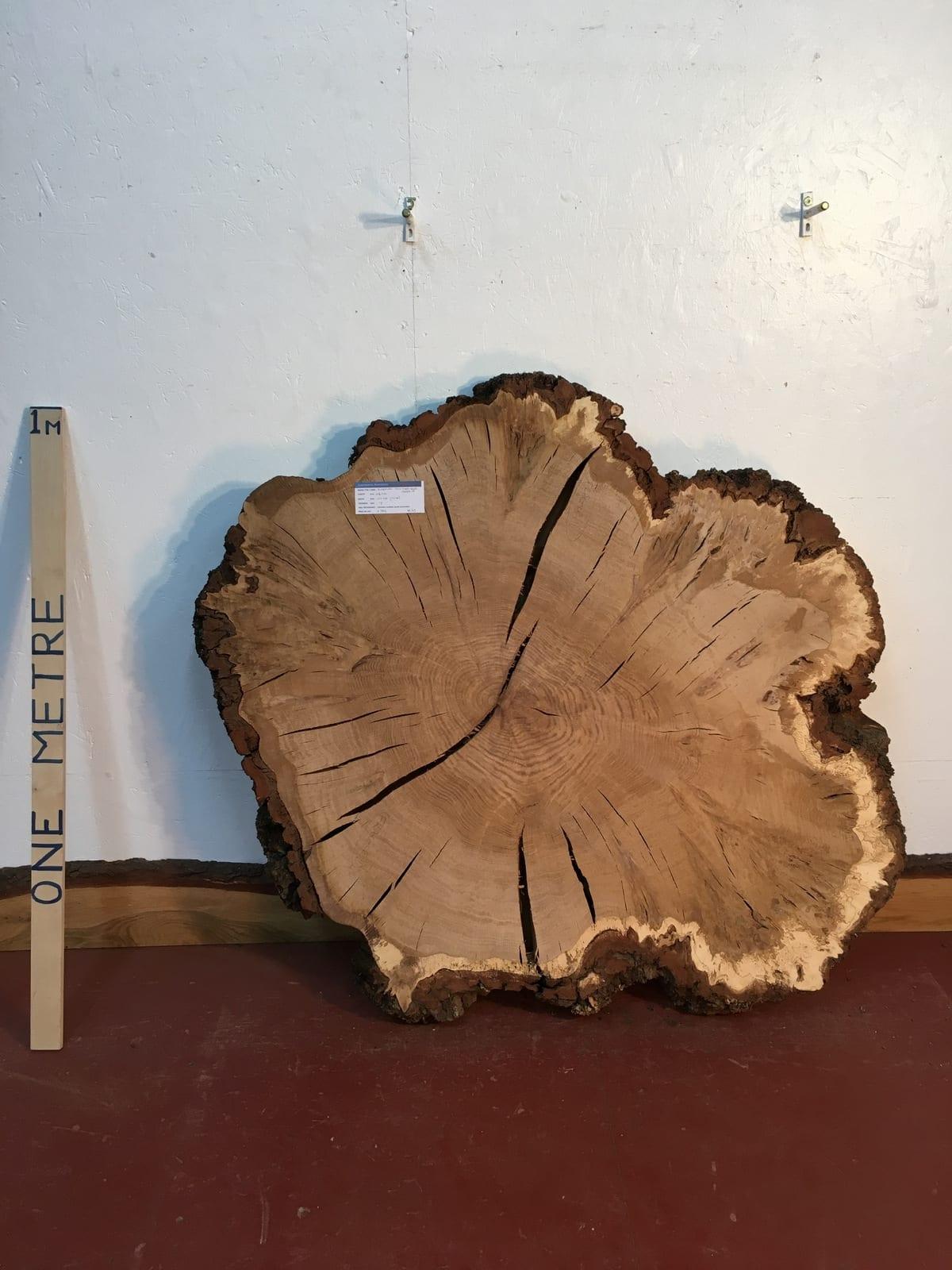 BURRY OAK TREE SLICE 1323A-9 Natural Waney Live Edge Slab Board Thickness 7cm Kiln Dried Planed Seasoned Hardwood Wildwood Coffee Table Top