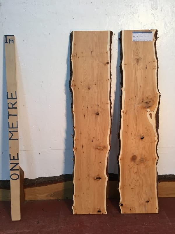 YEW SET Natural Waney Live Edge Slab Wood Board 1425B-2