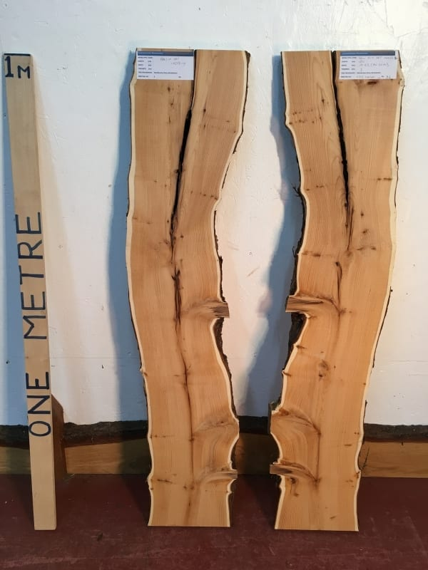 YEW BOOKMATCHED SET Natural Waney Live Edge Board 1425B-4