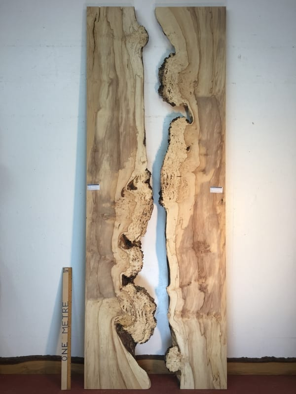 BURRY HORSE CHESTNUT Reverse Bookmatched River Set Natural Waney Live Edge Slab Wood Board 1390A-9R/10R