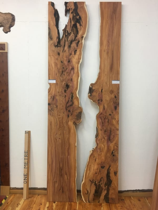 YEW REVERSE BOOKMATCHED RIVER SET Single Waney Live Edge Boards 1462-3/4