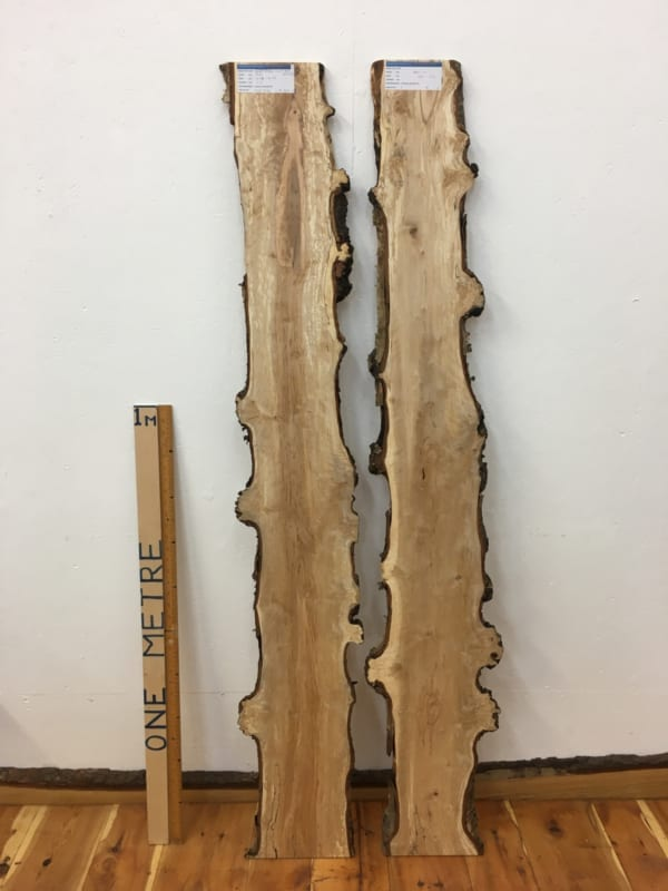 BIRCH FIGURED SET Natural Waney Edge Slab Wood Timber Board 1612-2/3