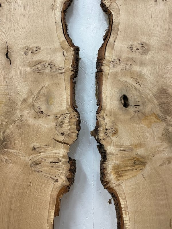 PIPPY / BURRY OAK BOOKMATCHED PAIR Natural Waney Edge Slab Wood Timber Board 1561B-5/6 Thickness 3cm Kiln Dried Planed & Thicknessed Seasoned Hardwood Wildwood