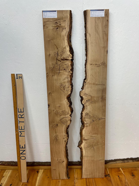 BURRY OAK RIVER SET Single Waney Natural Edge Board 1561A-4AR/5AL Thickness 3cm Kiln Dried Planed & Thicknessed Seasoned Hardwood Live Edge Shelf Wildwood River Tables