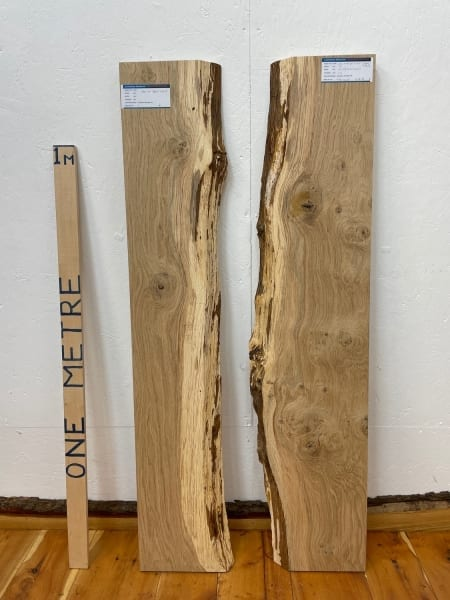 OAK RIVER SET Single Waney Natural Edge Board 1564A-23A/B Thickness 3.5cm Kiln Dried Planed & Thicknessed Seasoned Hardwood Live Edge Shelf Wildwood River Tables