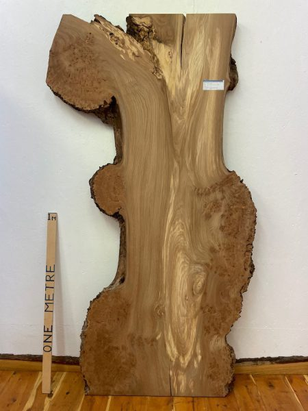 BURRY ELM Natural Waney Edge Slab Wood Timber Board 1392A-7 Thickness 6.5cm Kiln Dried Planed & Thicknessed Coarse Sanded Seasoned Hardwood Wildwood Live Edge Tabletop